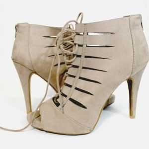 Fergalicious Tan Strappy Boot with Heel